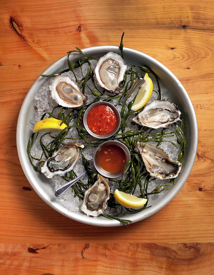 Raw Oyster Platter Photograph by Lara Hata