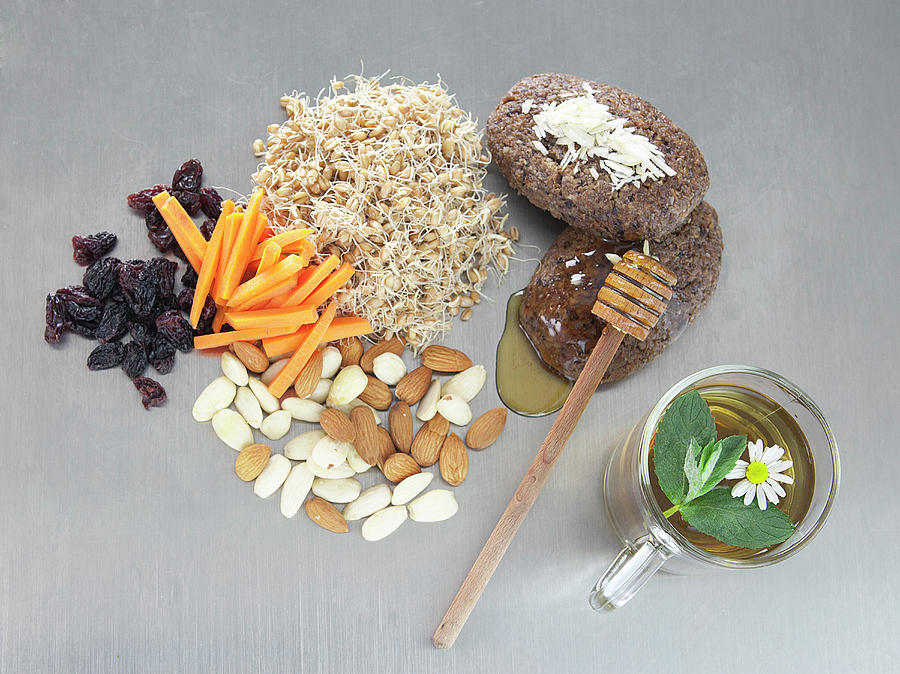 Raw Vegetables, Honey, Nuts, And Sprouts Photograph by Laurie Castelli