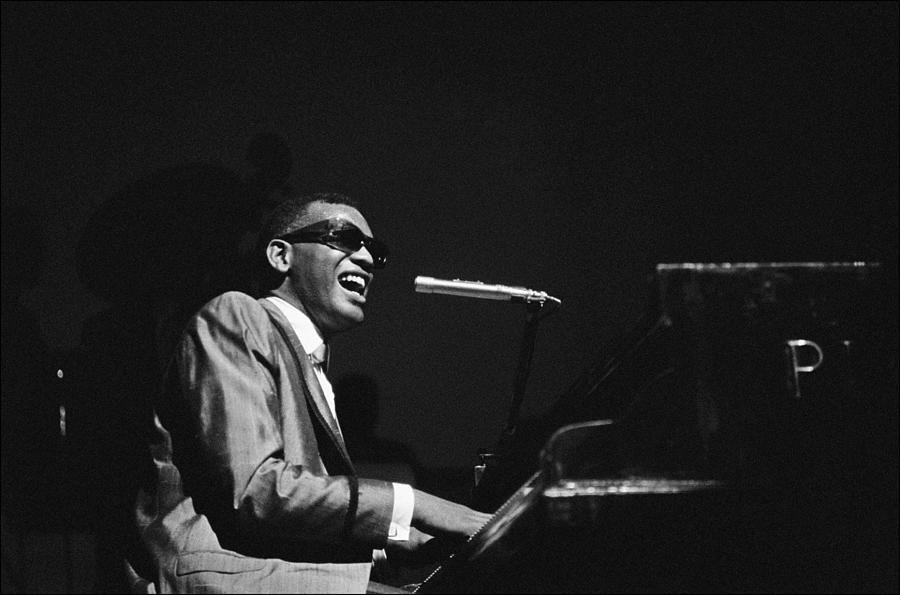 Ray Charles Behind The Scence At The Photograph by Reporters Associes