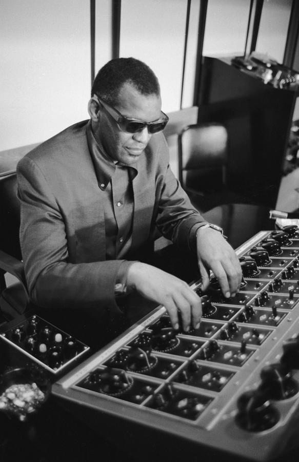 Ray Charles During Recording Session Photograph by Bill Ray