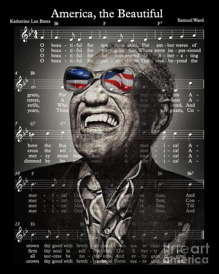 Ray Charles Singing America The Beautiful Drawing