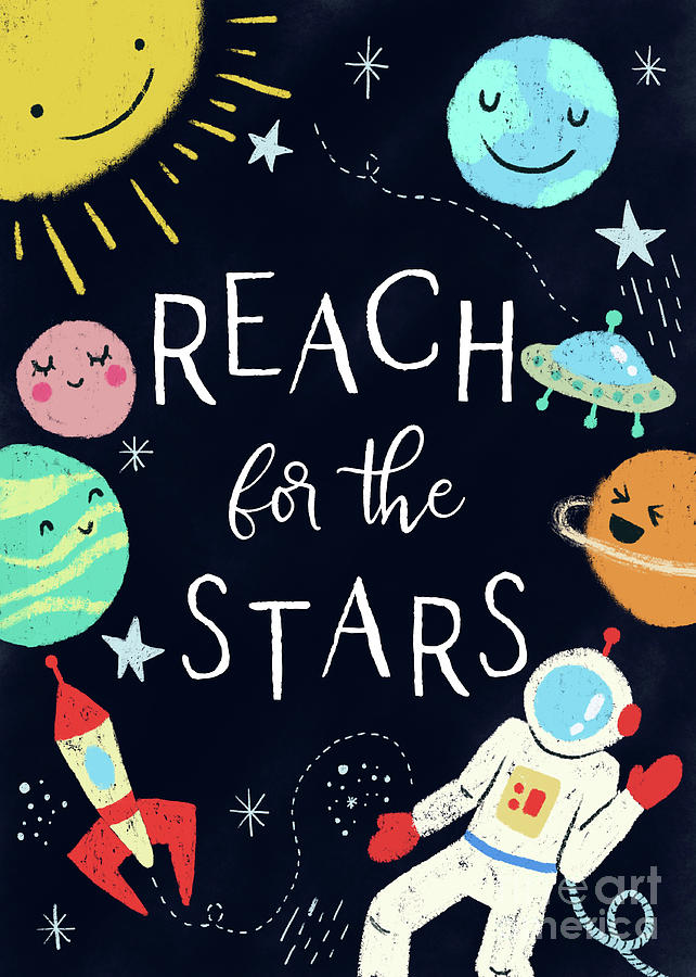 Reach For The Stars Nursery Quote by Namibear