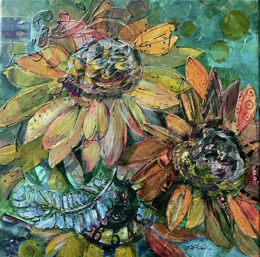 Sunflower Mixed Media - Reach for the Sun by Lee Bauman