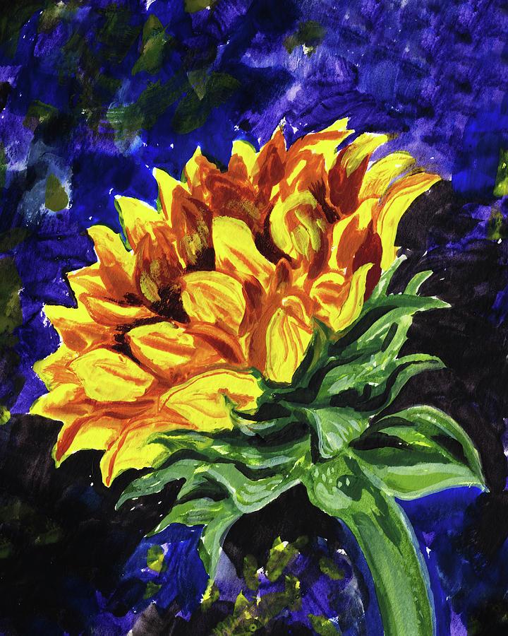 Reaching Up Sunflower Floral Impressionism  by Irina Sztukowski