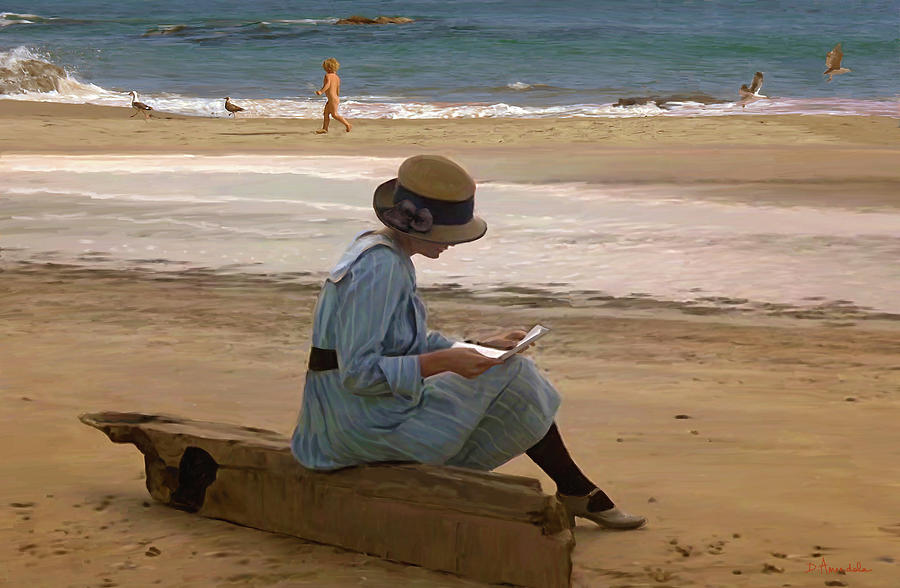 Lady Painting - Reading A Letter On The Beach by Dominique Amendola