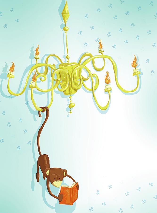 Reading Monkey Digital Art by Gabrieletafuni-illustrator
