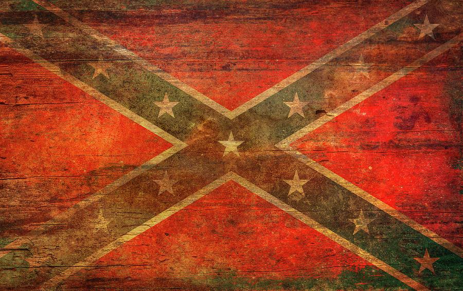 Rebel Flag Digital Art - Rebel Confederate Flag On Wood by Randy Steele