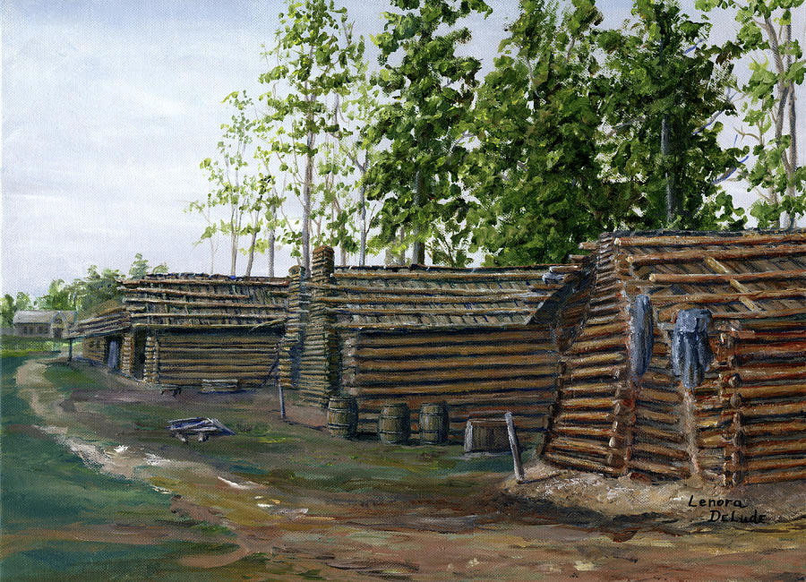 Rebel Huts, Port Hudson, Louisiana 1863 by Lenora De Lude