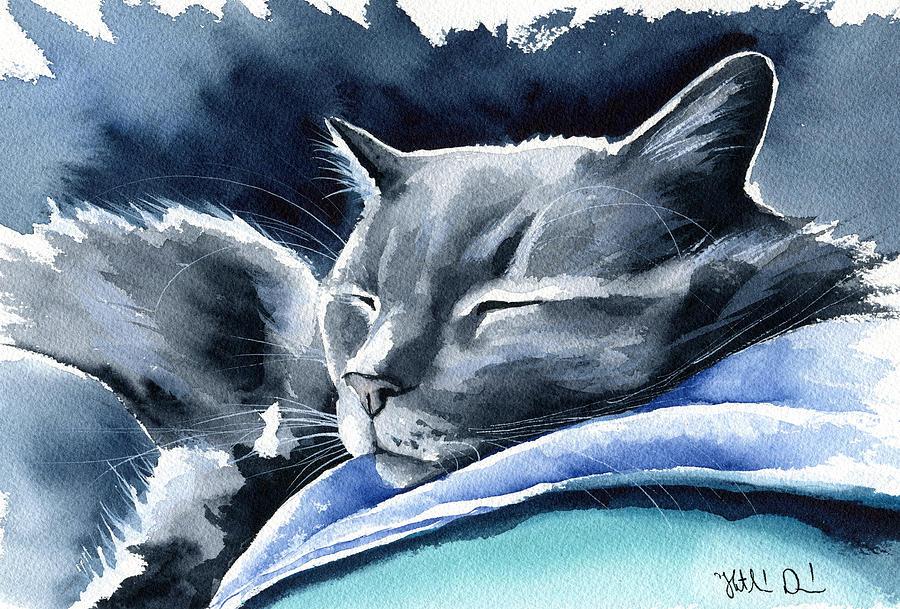 Cat Painting - Recharging Cat by Dora Hathazi Mendes