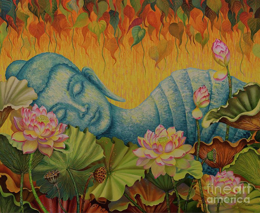Budda Painting - Reclining Buddha triptych central part by Yuliya Glavnaya