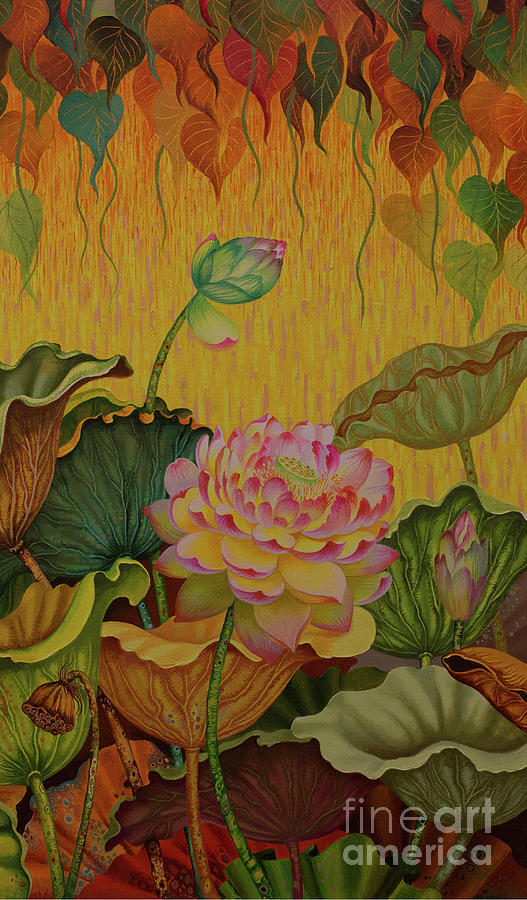 Budda Painting - Reclining Buddha triptych right part by Yuliya Glavnaya