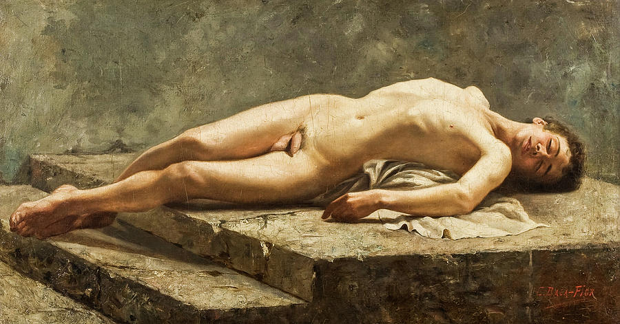 Reclining Nude Painting - Reclining Nude, 1886 by Carlos Baca-Flor