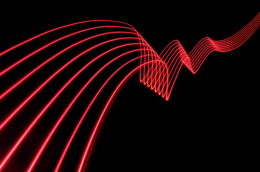 Red Abstract Coloured Lights Trails And Photograph by John Rensten