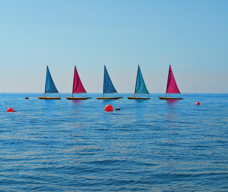 Red An Blue Sails On The Blue Water Photograph by Neil Howard