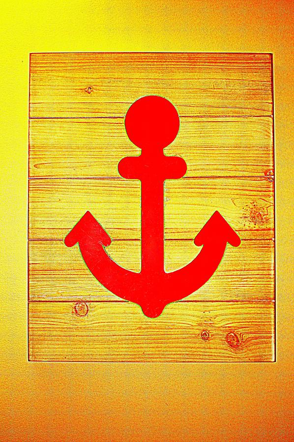 Red Photograph - Red Anchor Icon by Cynthia Guinn