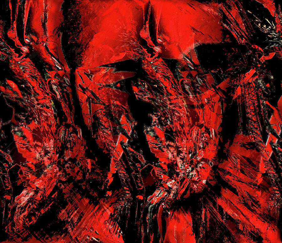 Red and Black Abstract by Natalie Holland