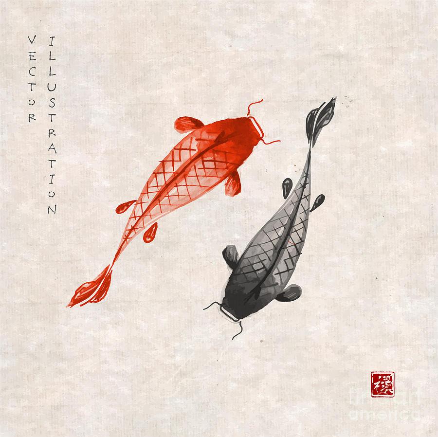 Symbol Digital Art - Red And Black Koi Carps Hand Drawn With by Elina Li