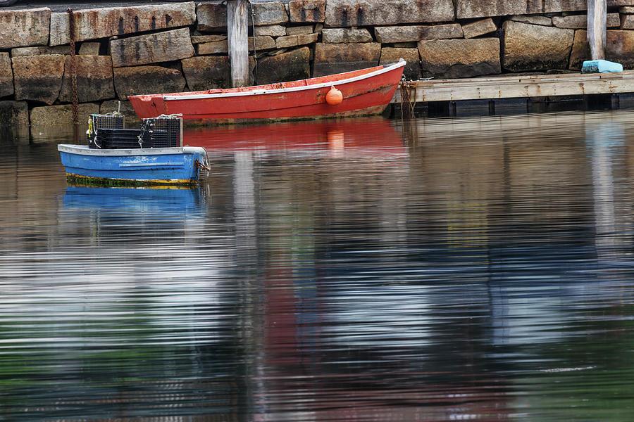 Adam Jones Photograph - Red And Blue Row Boats On Rainy Day by Adam Jones