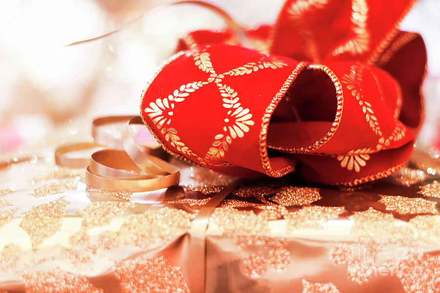 Red And Gold Gift Wrap Photograph
