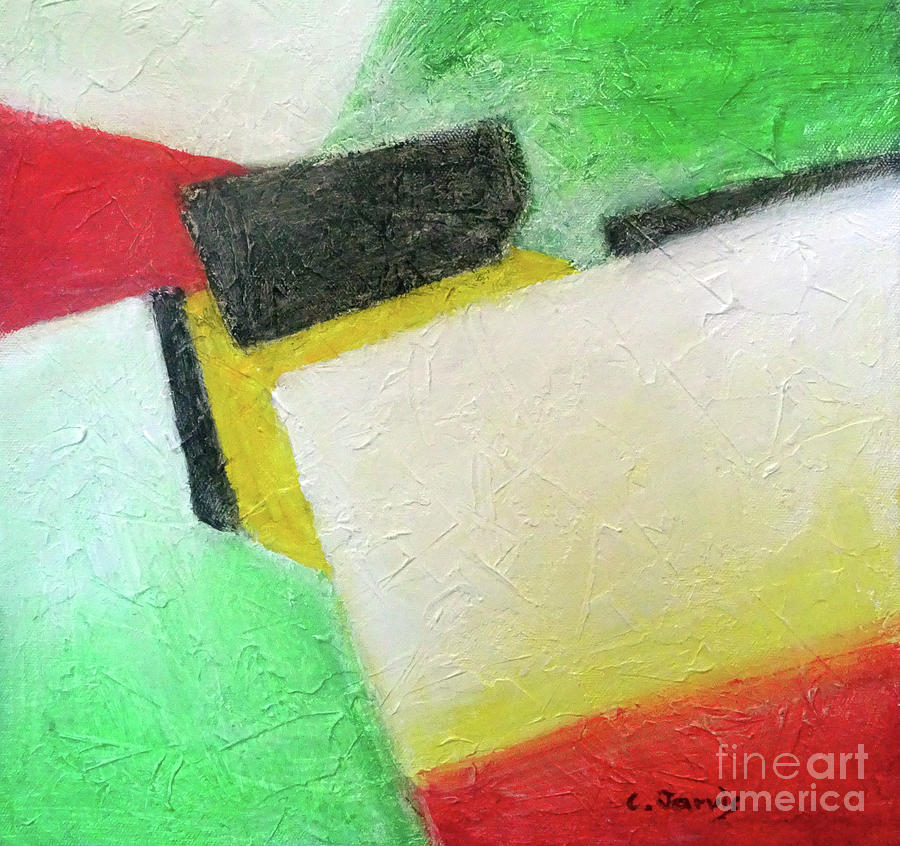Red and Green Geometric by Carolyn Jarvis