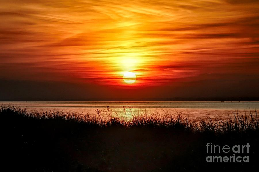 Red and Orange Sunset On Long Island Sound by Karen Silvestri