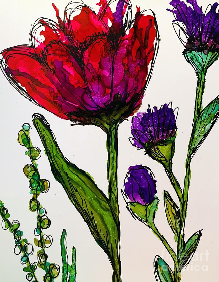 Red and Purple Doodle by Beth Kluth