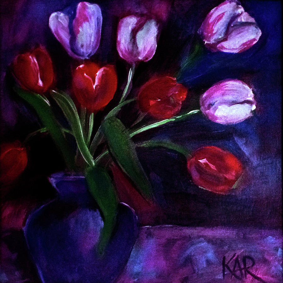 Flowers Painting - Red And White Tulips In A Blue Vase by Art by Kar