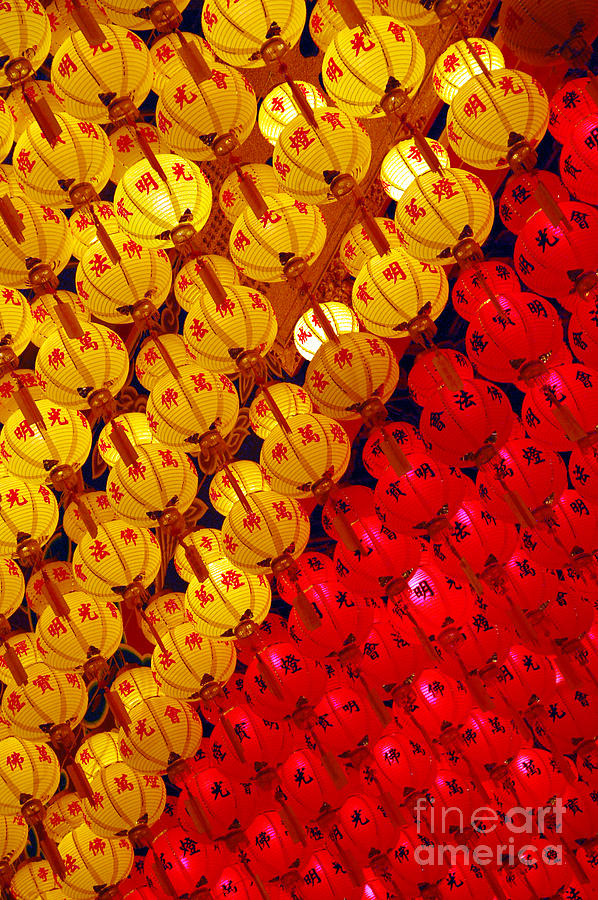 Lucky Photograph - Red And Yellow Lanterns Hanging In Kek by Tan Yoke Liang