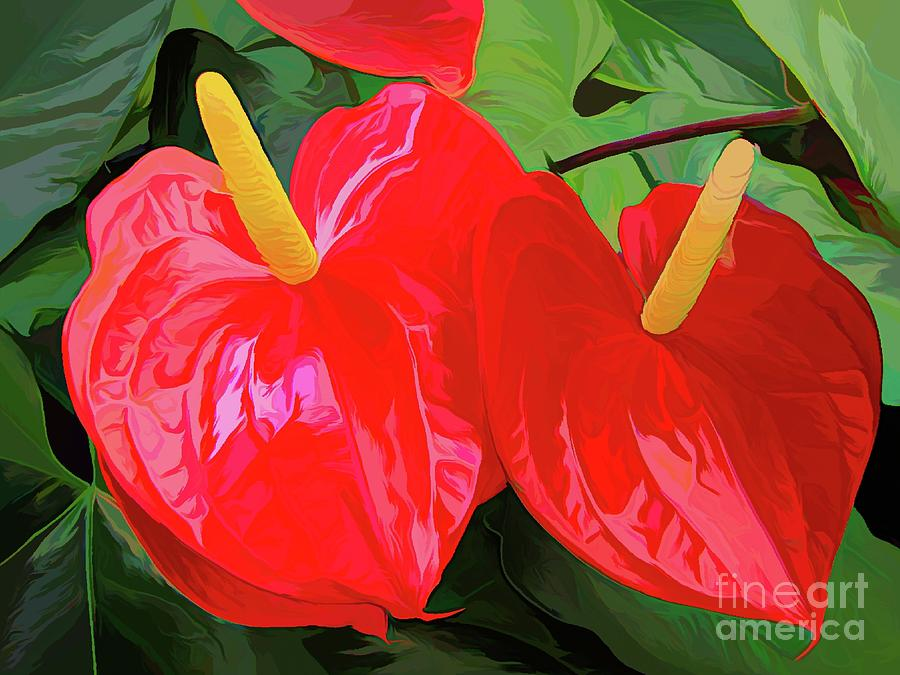 Red Anthuriums with Abstract Acrylic Effect by Rose Santuci-Sofranko