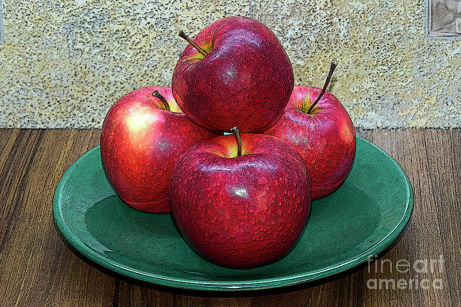 Red Apples On Green Plate Photograph
