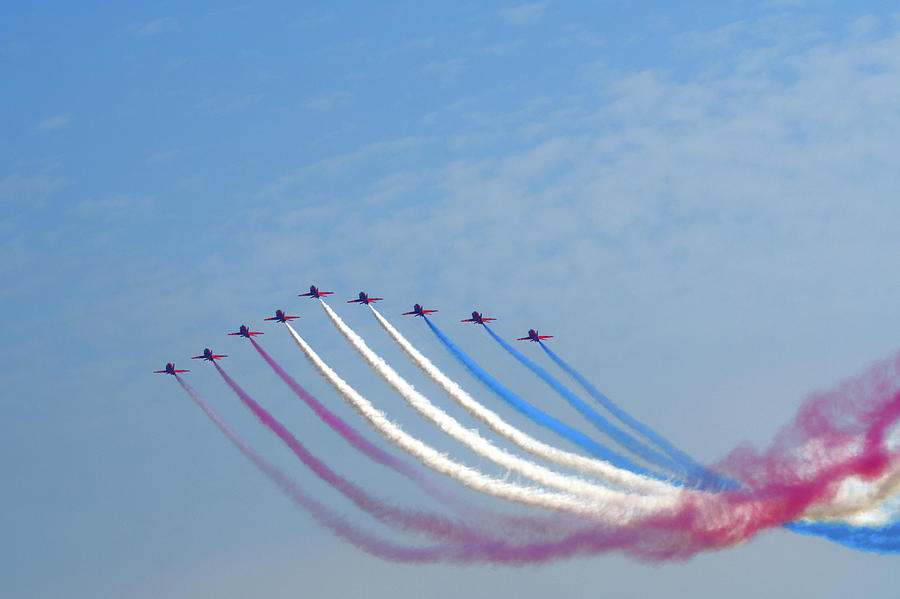 Red Arrows Photograph - Red Arrows Arrive by Chris Day