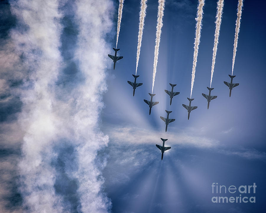 Red Arrows at Torbay Airshow by Edmund Nagele