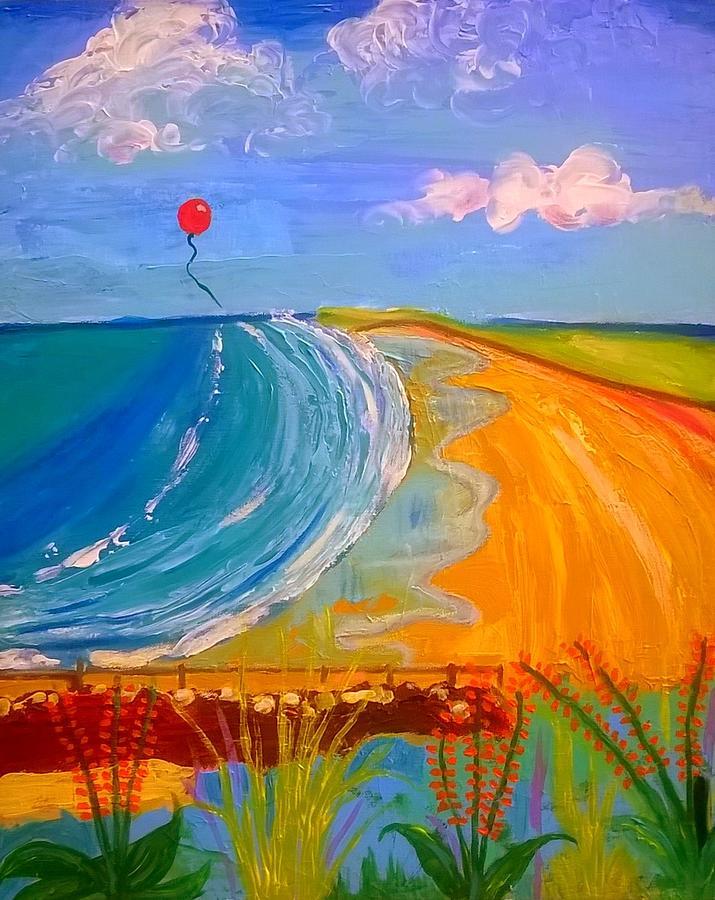 Red Balloon Over Rhossili Bay by Rusty Gladdish