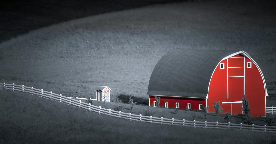 Red Barn Along the White Fence by Don Schwartz