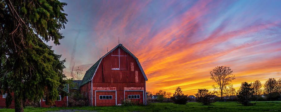 Red Barn At Sunset by Mark Papke