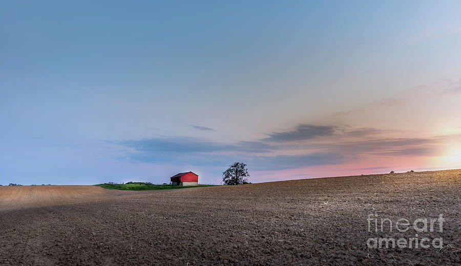 Red barn in the countryside on a Maryland farm at sunset by Patrick Wolf