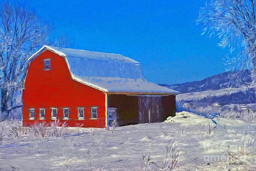 Red Barn in Winter Sunlight by Carol Randall