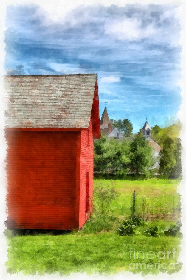 Red Barn New Boston New Hampshire Watercolor by Edward Fielding