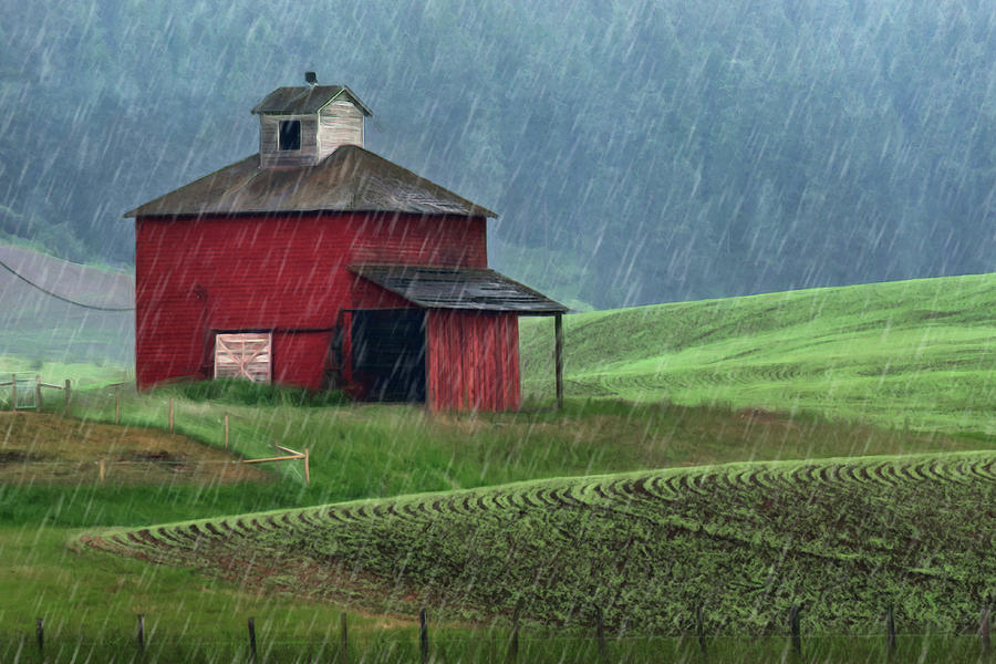 Red Barn Photograph - Red Barn - Palouse - In The Rain by Nikolyn McDonald