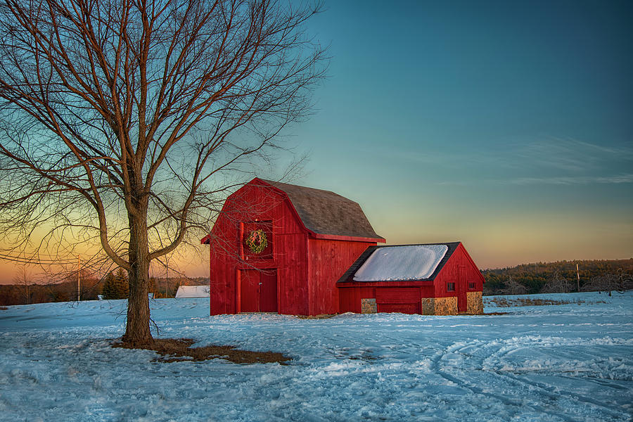 Red Barn Sunset in Winter by Joann Vitali