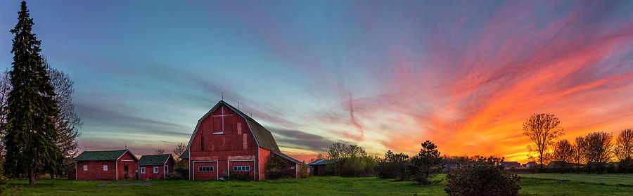 Red Barn Sunset Panorama by Mark Papke