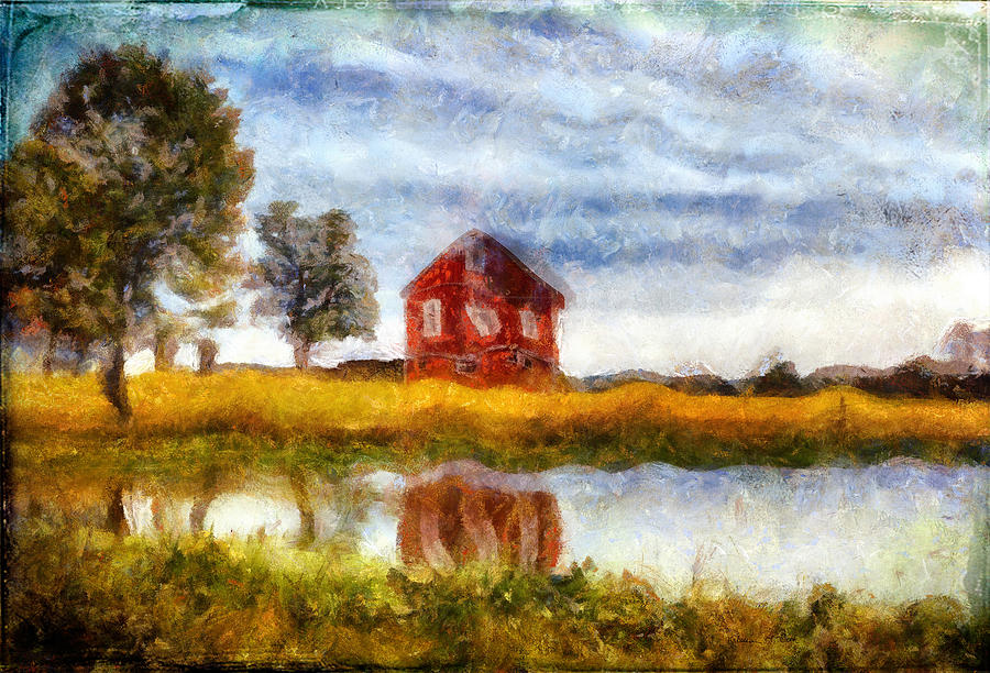 Red Barn With Pond by Bellesouth Studio