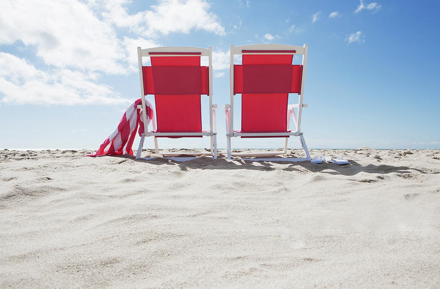 Red Beach Chairs Photograph by Nine Ok