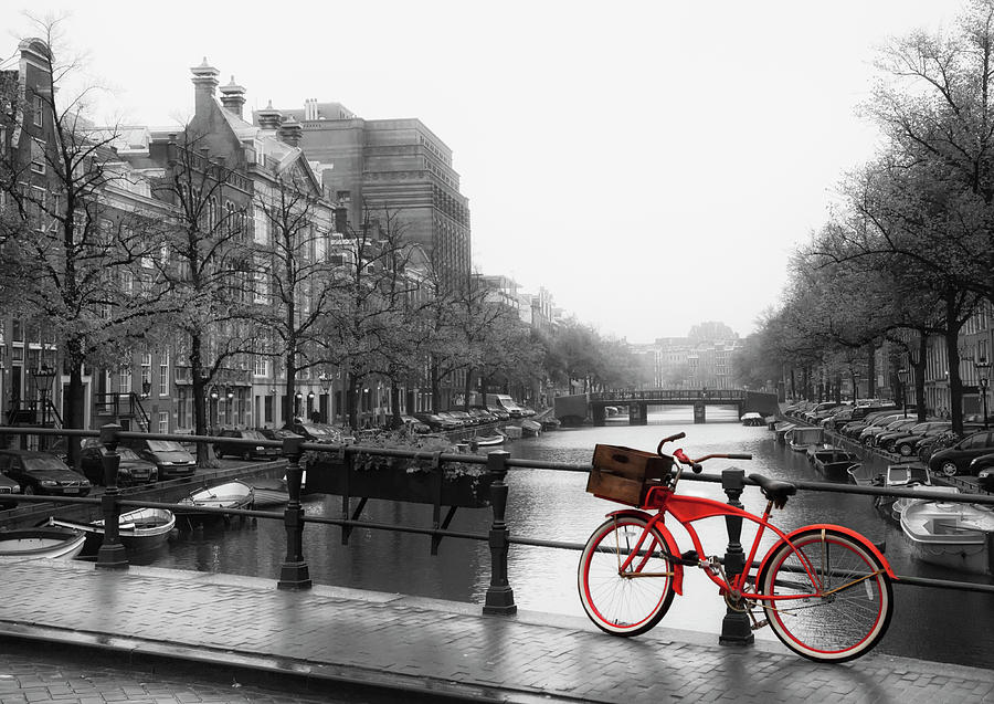 Red Bicycle At A Canal In Amsterdam Photograph by Elisabeth Pollaert Smith