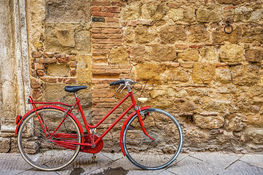 Red Bicycle Photograph by Deimagine