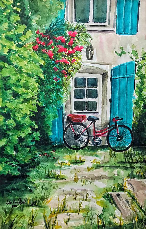 Watercolor Painting - Red Bike in Courtyard by Monika Arturi