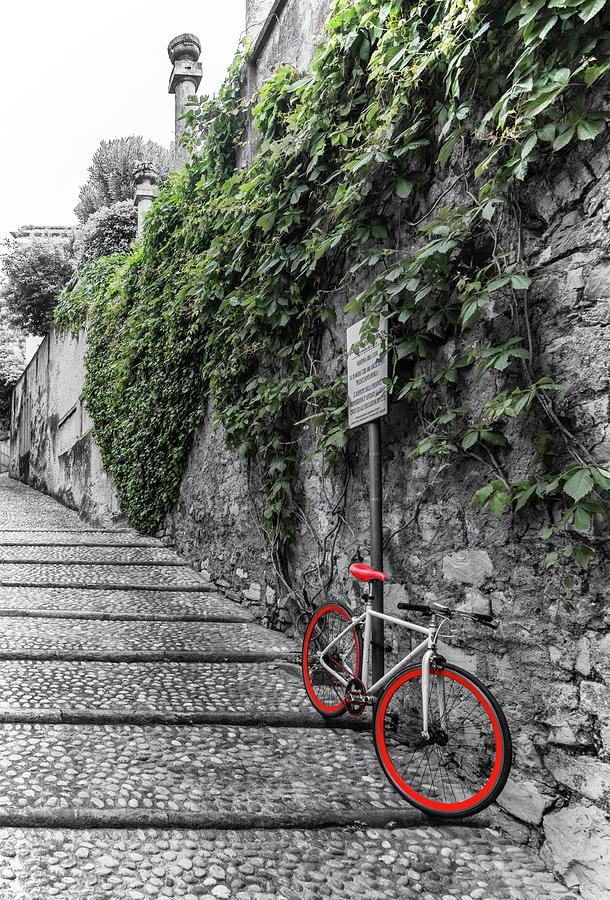 Red Bike on Contrada del Prato  by Carolyn Derstine