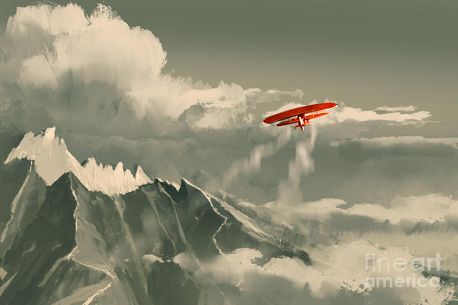 Plane Digital Art - Red Biplane Flying by Tithi Luadthong