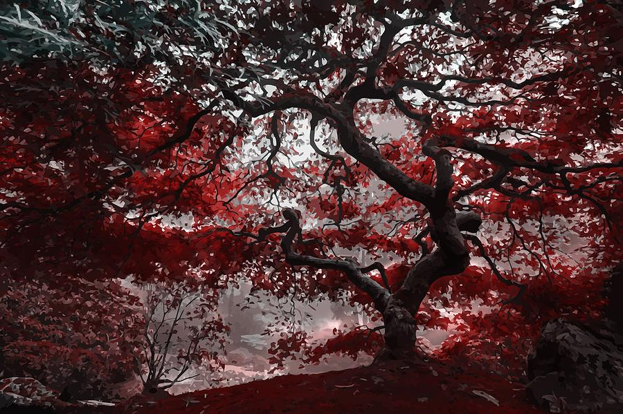 Red Blossom Tree by Art Shack