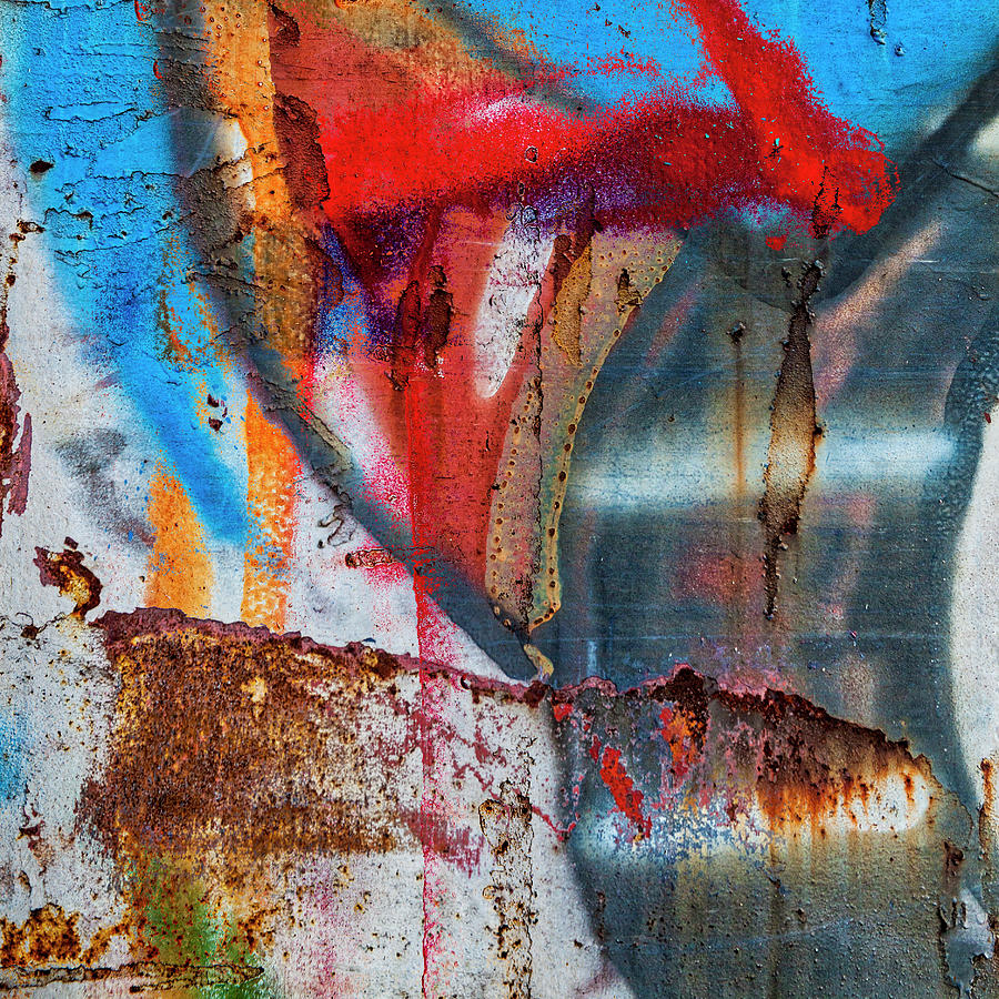 Graffiti Mixed Media - Red Blue Graffiti Abstract Square 2 by Carol Leigh
